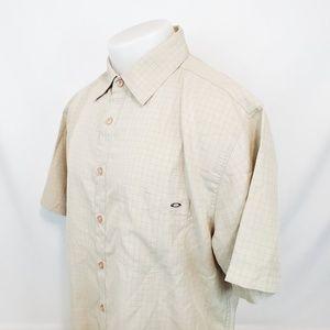 Oakley Mens Button Front Shirt Sz Large Beige S/S